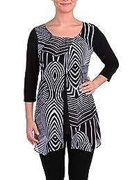 Nygard Women's Plus Size Bianca Tulip Hem Tunic Black/White