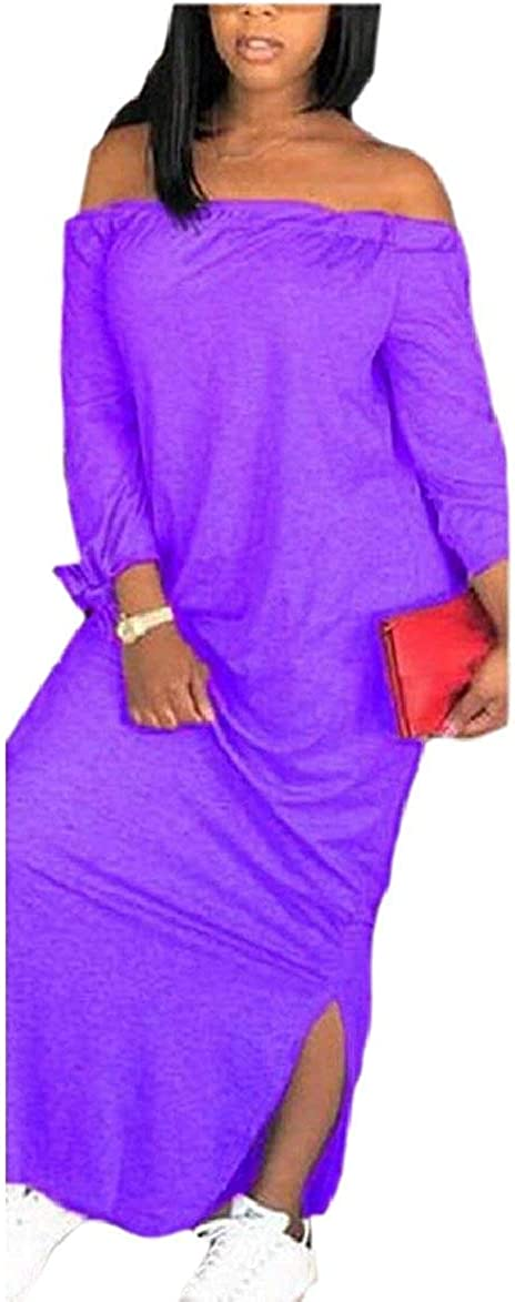Babaseal Womens Casual Off The Shoulder Long Sleeve Solid Maxi Dress