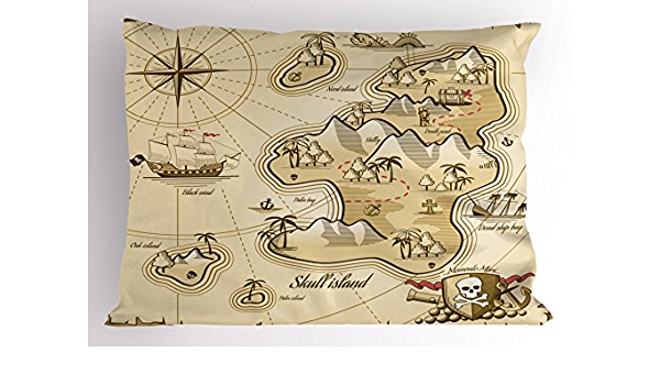 Details about  /Pirate Quilted Coverlet /& Pillow Shams Set Map on Grunge Timber Print