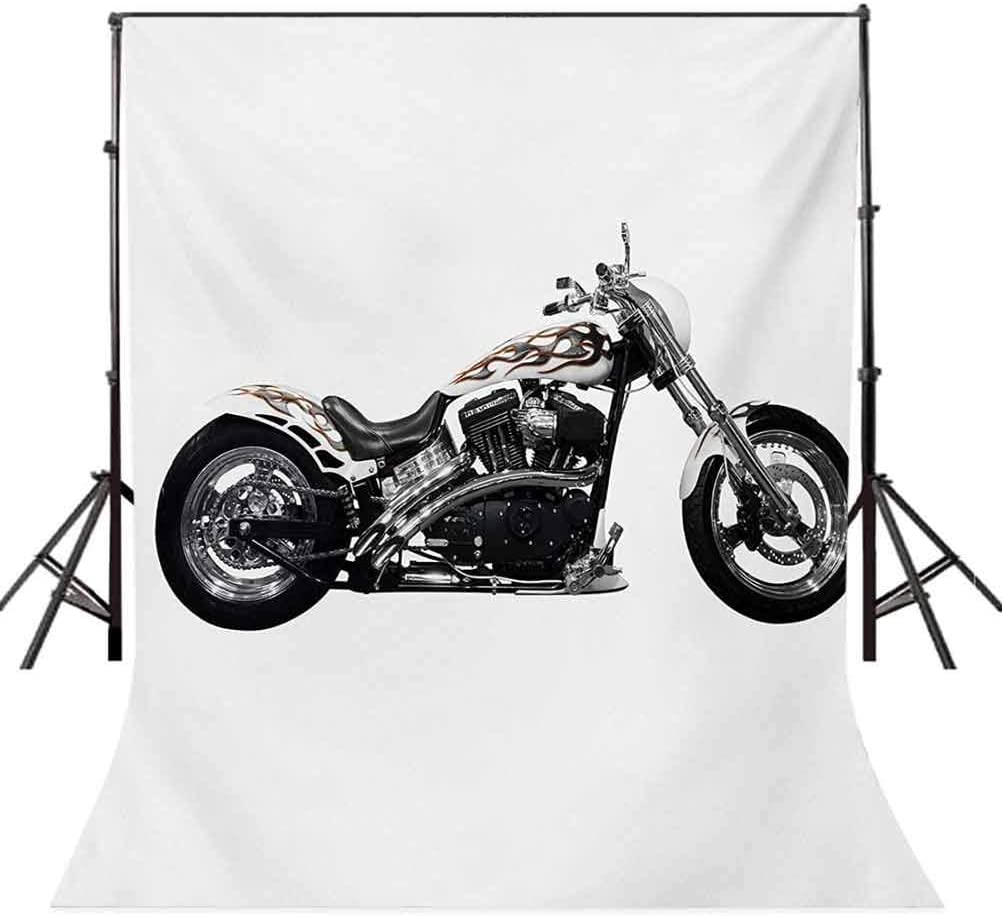Manly 10x12 FT Photo Backdrops,Motorbike Hipster Style Dangerous Risky Ride Driving Vehicle Throttle Chopper Background for Baby Shower Bridal Wedding Studio Photography Pictures Black White Grey