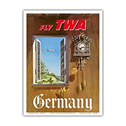 Germany - Fly TWA (Trans World Airlines) - German Black Forest Cuckoo Clock - Vintage Airline Travel Poster by William Ward Beecher c.1952 - Master Art Print - 9in x 12in