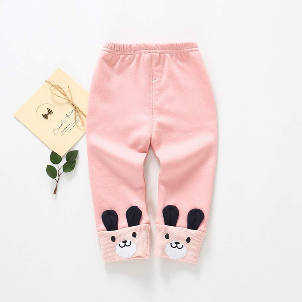 URMAGIC Toddler Baby Girls Winter Pants Infant Kids Cartoon Rabbit Solid Color Thick Casual Bottoms Warm Trousers Leggings