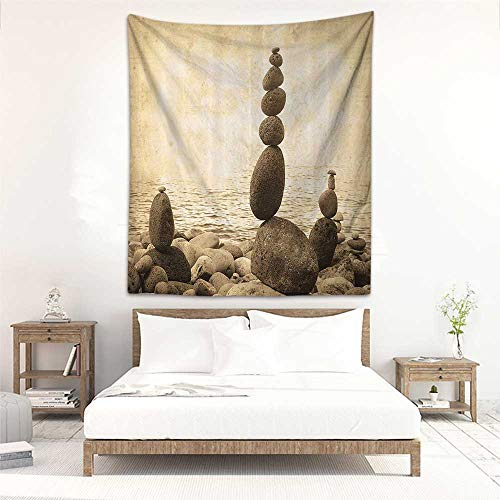 Tapestry Wall Hanging Ocean Grunge Style Coastal Shore Calm Water Zen Print Sepia Big and Small Rocks Pebbles Artsy Occlusion Cloth Painting 70