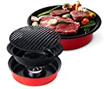 Steam Roast Grill Pan Meat Direct Grill Plate Patented Torsion field for Kitchen Home Nonstick Cooking Teflon Coating Bioceramic Diameter 32Cm