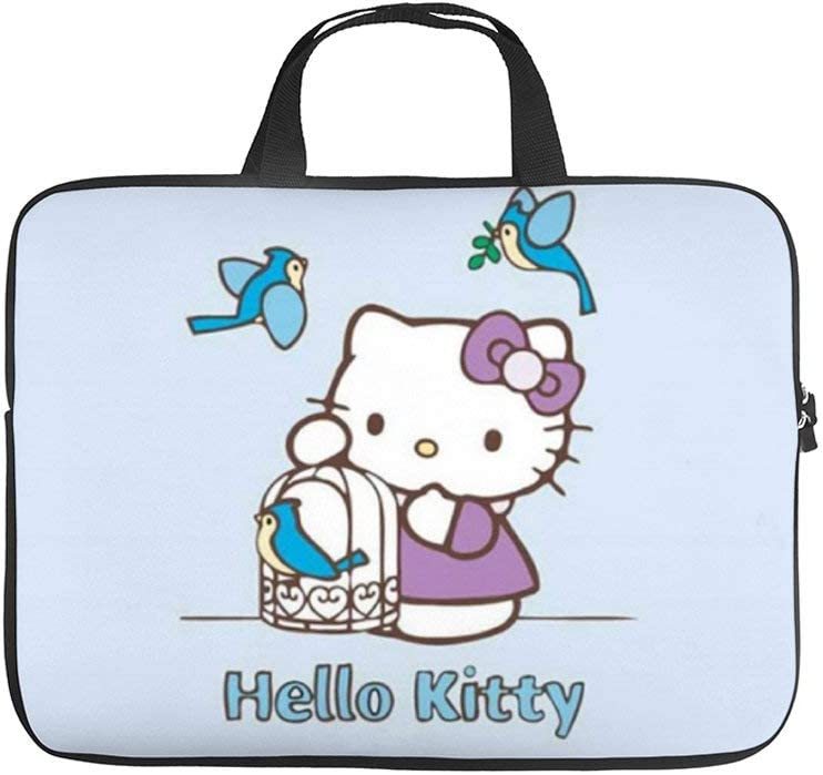 """Hello Kitty and Birds 10-13"""" 13-17"""" Neoprene Laptop Sleeve Bag Carrying,Case Premium Laptop Briefcase Fits Up to 17 Inch Water-Repellent