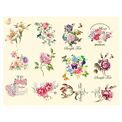 FineInno DIY Iron-on Transfers Flower Patches Appliques Vinyl Washable Sticker Decals Heat Thermal Transfers Printed Decor Accessories Kit for T-Shirt, Jeans,Bags,Hats (Perfume Flower)
