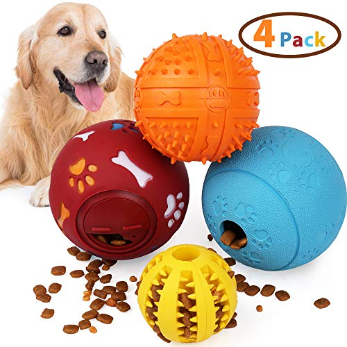 PrimePets Dog Treat Ball, Treat Dispensing Dog Toys, IQ Treat Toys Non-Toxic Natural Rubber Interactive Dog Toys for Tooth Cleaning Chewing Playing Fetching - 4 Pack