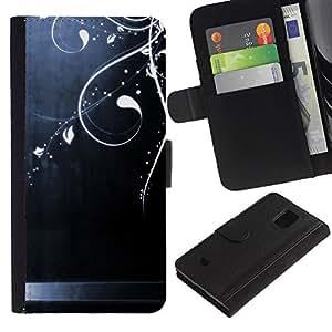 KingStore / Leather Etui en cuir / Samsung Galaxy S5 Mini, SM-G800 / Acero cepillado Arte Brillante floral;