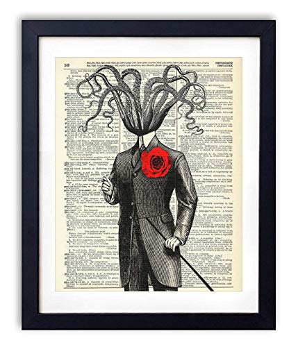 Victorian Gentleman Octopus Upcycled Vintage Dictionary Art Print 8x10, unframed -