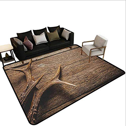 Carpet Protection mat Antlers,Deer Antlers on Wood Table Rustic Texture Surface Hunting Season Fall Gathering Art, Umber