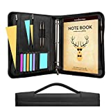 Wundermax Portfolio Binder A Zippered Padfolio with Handle & 3 Ring Binder Document Organizer Briefcase Professional PU Leather Folder Resume Holder for Work with Notebook and 10.1 Inch Tablet Sleeve