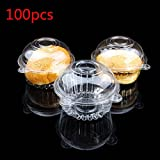 100pcs Clear Plastic Single Cupcake Cake Case Muffin Pod Dome Holder Box N@N