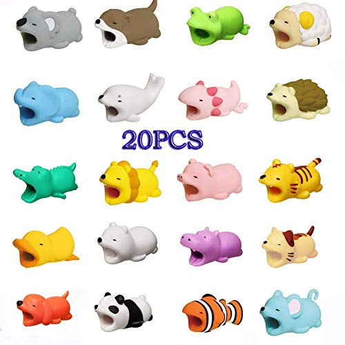 - EnjoCho Cable Bite Protector for iPhone Cable Winder Phone Holder Accessory Cute Animal Doll Model Funny (20PCS, I)