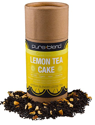 Pureblend Black Tea - Lemon Tea Cake Loose Leaf Tea - Hand Blended, Organic Tea with Fair Trade Ingredients - Ceylon Tea & Assam Tea with Organic Lemon, Coconut & Shortbread - 2 Ounces