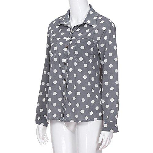 Tops Chic Longues Shirt lgant Gris Printemps Chemise de T Manches Chemisier Col Blouses Pois Solike Casual Femme Blouse Automne SxH1F