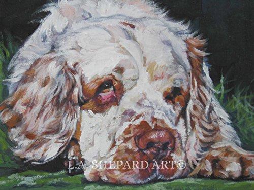 (A Clumber Spaniel dog art portrait print of an LA Shepard painting 12x16