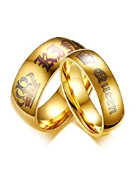 Keybella Her King/His Queen Ring Gold Stainless Steel Wedding Bands Engagement Promise Rings