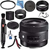 Sigma 30mm f/1.4 DC HSM Art Lens for Nikon #301306 + 62mm UV Filter + Lens Pen Cleaner + Fibercloth + Lens Capkeeper + Deluxe Cleaning Kit + Flexible Tripod Bundle