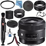 Sigma 30mm f/1.4 DC HSM Art Lens for Sony #301205 + 62mm UV Filter + Lens Pen Cleaner + Fibercloth + Lens Capkeeper + Deluxe Cleaning Kit + Flexible Tripod Bundle