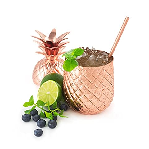Solid Copper Pineapple Tumbler/Mug with Copper Straw- Available in 3 Sizes (12oz,18oz,24oz)- Handcrafted Drinking Mug