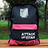 Attack on Titan Shingeki No Kyojin Cosplay School backpack bag red/black