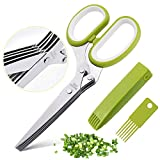 Herb Scissors Set with 5 Multi Stainless Steel Blades, Safe Cover and Cleaning