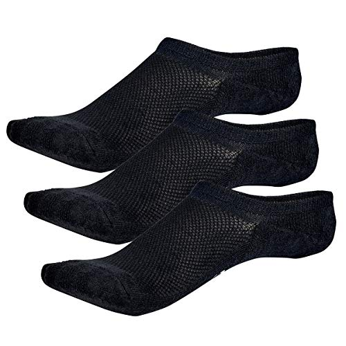 Bamboo Sports Invisible Shoe Liner Socks- Soft & Comfortable Prevent Smelly Feet (Black 3 Pair, Medium)