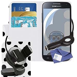 iTALKonline Samsung i9190Galaxy S4Mini/I9195I Galaxy S4Mini Plus piel sintética Executive funda de piel tipo libro con tapa organizador con soporte de tarjeta de Crédito/negocios dinero, 3capas Protector de pantalla LCD, 360grados giratoria caso Compatible en soporte con ventosa para parabrisas de coche y 1000mAh Cargador de espiral en coche indicador LED y protección de sobrecarga