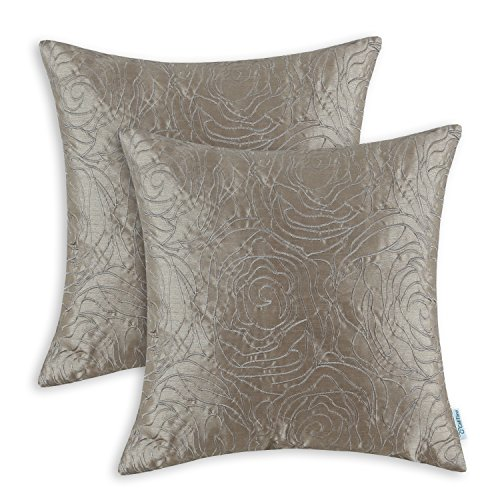 Pack of 2 CaliTime Cushion Covers Throw Pillow Cases Shells for Home Sofa Couch, Roses Floral Em ...