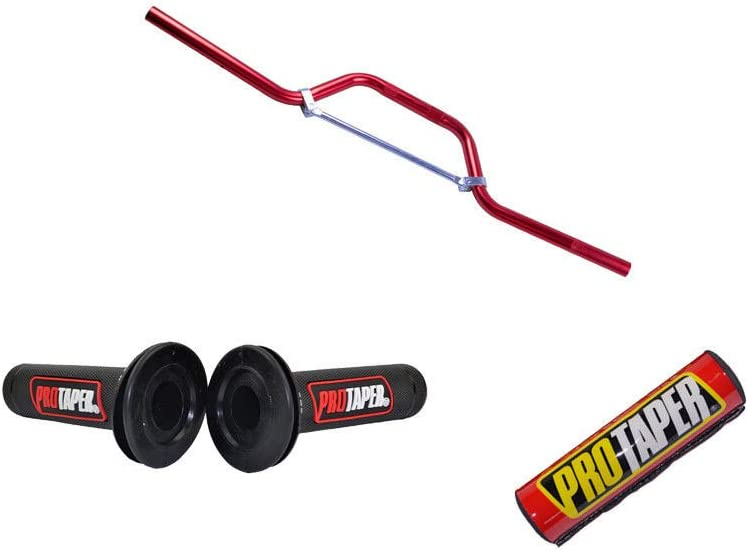 7//8 Red Handle bar+Hand Grips+Handle bar Crossbar Pad CRF 50 70 Pit Pro Dirt Bike 22MM Motorcycle Aluminum Handlebar Bar Dirt Pit Bike ATV Quad /& Cross Bar