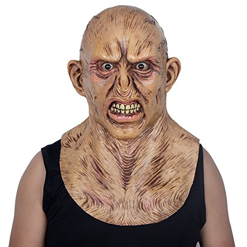 Yxsd Mask cos Male Horror Scare Latex Wig Demon Grimace Adult Halloween Room Escape Haunted House Props (Color : -