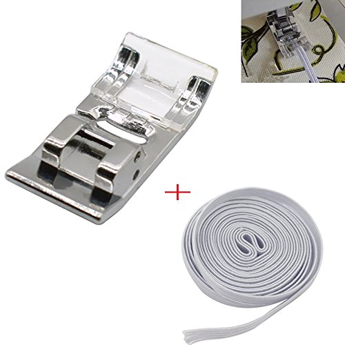 Zig Zag Sewing Machine Presser Foot with 1M Braided Elastic White(10MM Wide) for All Low Shank Singer, Brother, Babylock, Euro-Pro, Janome, Kenmore, White, Juki, New Home, Simplicity, Elna by LNKA