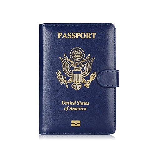 - Maxjoy Leather Passport Holder Cover - RFID Blocking Travel Passport Wallet Card Organizer passport case, Blue