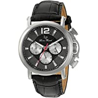 Lucien Piccard Men's 'Triomf' Quartz Stainless Steel and Leather Watch, Color Black (Model: LP-40018C-01)