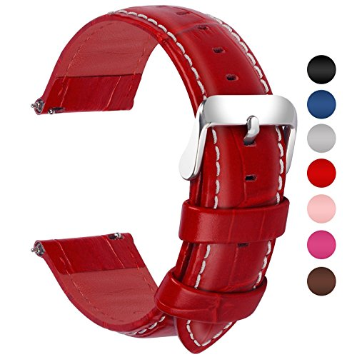 Fullmosa 7 Colors for Quick Release Leather Watch Band, Bamboo Series Genuine Leather Replacement Watch Strap with Stainless Metal Clasp 22mm Red (Genuine Leather Watches For Men)