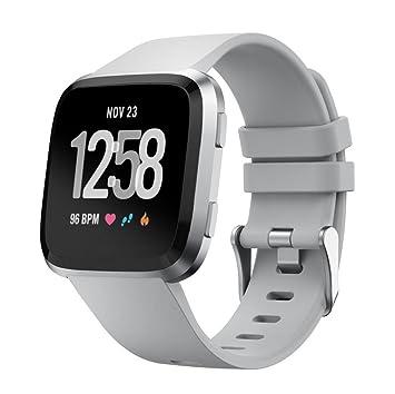 Correa de silicona para reloj inteligente Fitbit Versa, doble color liso, correa de silicona suave, correa de repuesto deportiva clásica (grande), ...