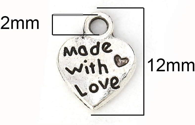 Piccoli ciondoli in metallo per fai da te gioielli fai da te ciondolo a forma di cuore Made with Love 50 pezzi, 9 x 12 mm Sadingo