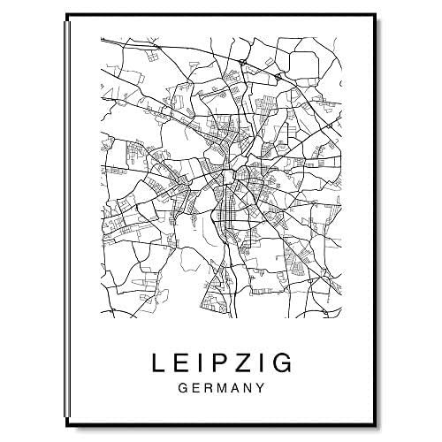 Amazon Com Leipzig Map Wall Art Poster Print Saxony Germany City Map Street Black White Handmade