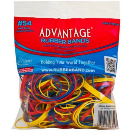Rubber bands, Advantage Rubber Bands, Office Suplies, #54 Assoted Colors and Size. Made in USA