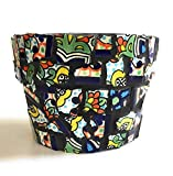 Mexican Tile Mosaic Flower Pot, 4.5 Inch Tall, Colorful Talavera Tile with Charcoal colored grout