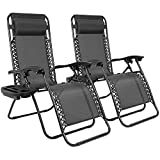 Homall Zero Gravity Chair Patio Lounge Chair Set of 2 Adjustable Zero Gravity Lounge Chair Recliners for Patio, Pool with Cup Holder Recliner Patio Chair with Folding Function(Black Set of 2)