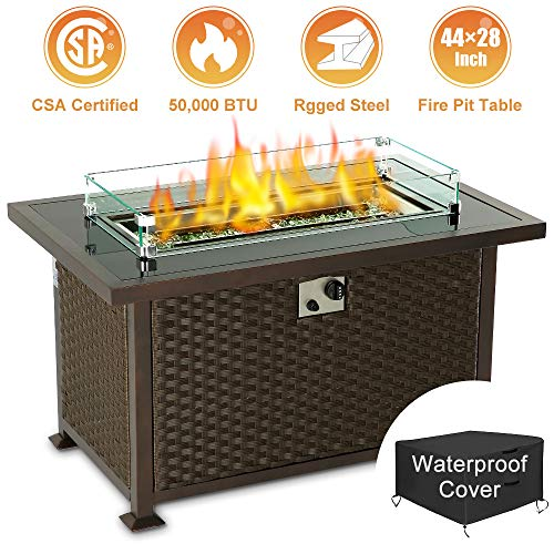 oneinmil Gas Fire Pit Table – 44-Inch Outdoor Propane Fire Pit Table with Fire Glass & Glass Wind Guard & Temperature Glass Tabletop & Waterproof Cover (Espresso Brown/Rectangle, Rattan)