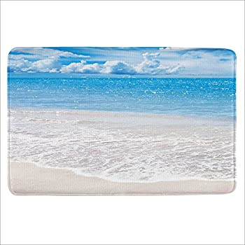 "ALFALFA Bath Rug, Non Slip Mat, Bathmat, Doormat, Thick Synthetic Sponge And Super Soft Microfiber Flannel Fabric,Absorbent, Beach Design Theme 16"" W x 24"" L (40 x 60 CM)-Beach"