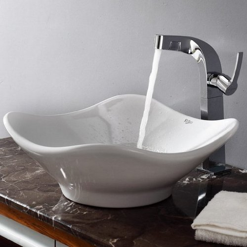 - Kraus C-KCV-135-15100CH White Tulip Ceramic Sink and Typhon Faucet, Chrome