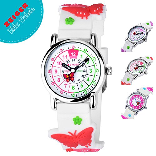 Zeiger Toddler Fashion Children Kids Watches Girls Age 5 - 7 - 10 Time Teacher, Cartoon Character 3D Butterfly Silicone Band - Characters Cartoon With Glasses