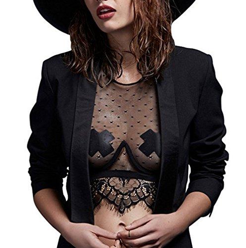 Smile YKK Tops Crop Femme Débardeur Sexy Dos Nu Bandage Soirée Clubwear Transparent