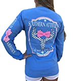 Southern Attitude Sassy Chevron Deer Skull Carolina Blue Long Sleeve Shirt (Medium)