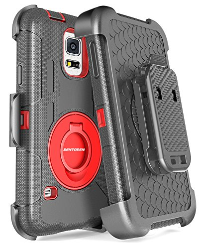 Galaxy S5 Case, Samsung Galaxy S5 Case, BENTOBEN Hybrid Soft Silicone Hard Protective Case Rotating Kickstand Belt Clip Holster Cover Case for Samsung Galaxy S5 S V I9600 GS5 All - Cases Dollar Galaxy For S5