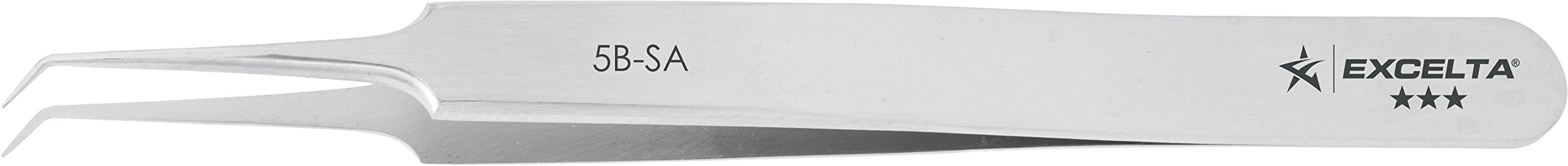 Excelta - 5B-SA - Tweezers - Ultra Fine Point - Bent - Three Star - Anti-Mag. SS, 0.06'' Height, 0.375'' Wide, 4.25'' Length by Excelta