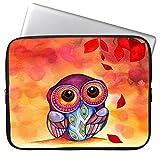 Elonbo 15.6 Inch Owl Design Neoprene Laptop Sleeve, Cute Colorful Neoprene Laptop Carrying Case
